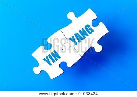 Connected Puzzle Pieces With Words Yin Yang