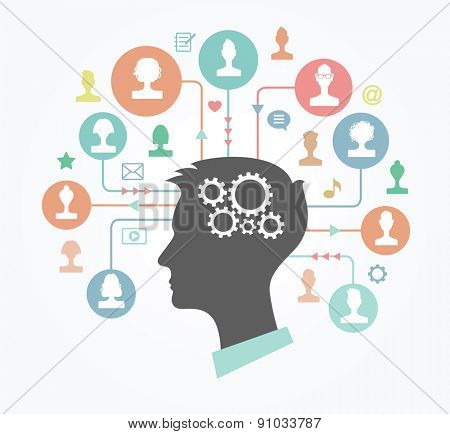 The concept of communication. Silhouette of a head of a young man surrounded by avatars, icons, arrows and circles