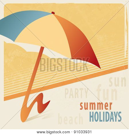 Summer background with sunshade - retro style