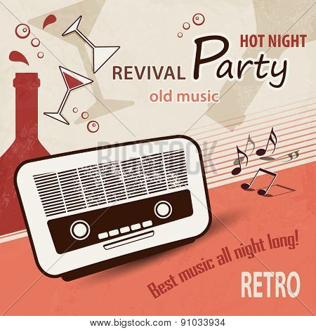 Music background - retro party poster with old radio