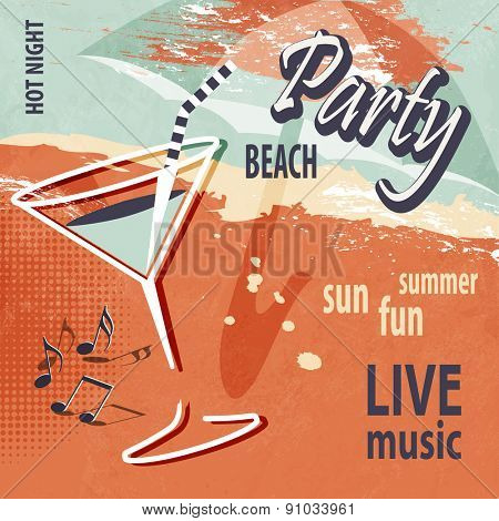 Summer beach party poster with cocktail - retro style