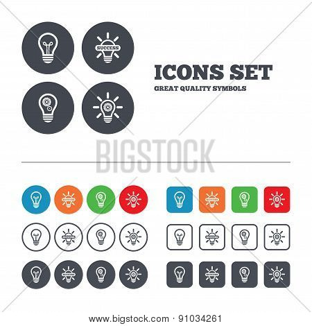 Light lamp icons. Energy saving symbols.