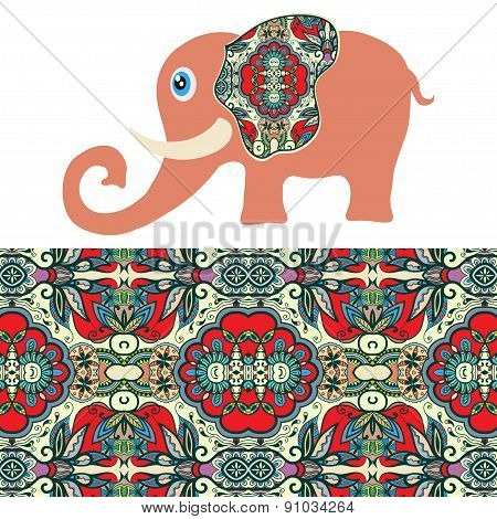 Cartoon elephant with tribal ethnic ornament geometric seamless pattern
