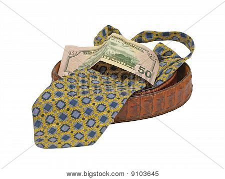 Necktie,mans Leather Belt And Fifty Dollars Bill.