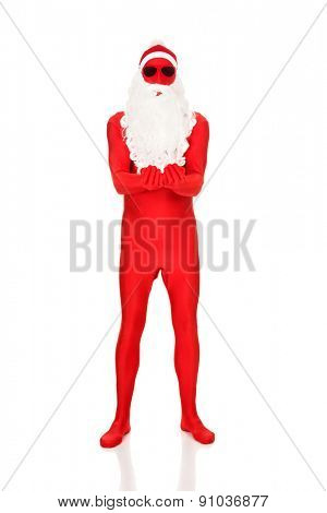 Full length santa in latex clothes with open hands.
