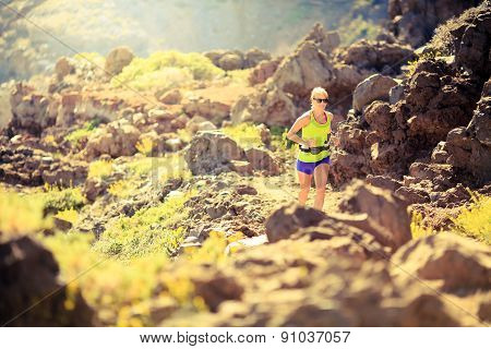 Happy Woman Running In Mountains Summer Sunset