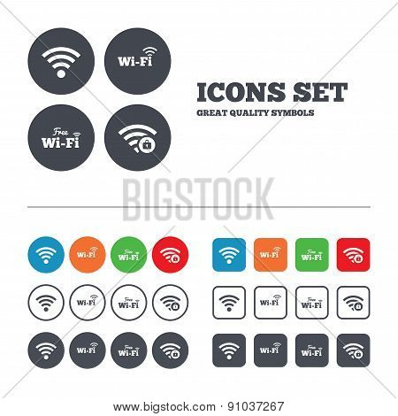 Wifi Wireless Network icons. Wi-fi zone locked.