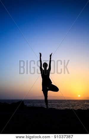 Woman Exercising Yoga Sunset Silhouette