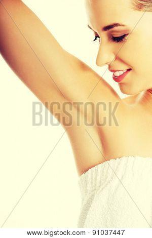 Woman's armpit close up .
