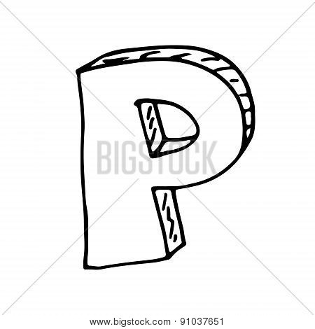 English Alphabet - Hand Drawn Letter P