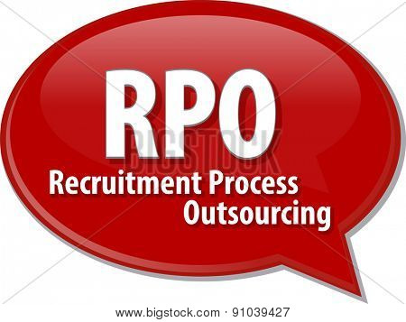 word speech bubble illustration of business acronym term RPO Recruitment Process Outsourcing