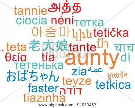 Background concept wordcloud multilanguage international many language illustration of aunty
