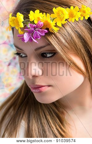 Girl With Flowers On The Head