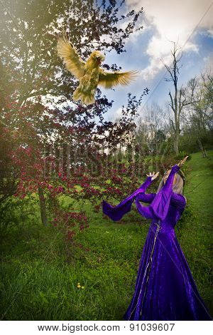 Young woman in purple gown throwing a chicken in the air.