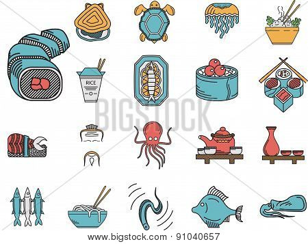 Flat color vector icons for seafood menu