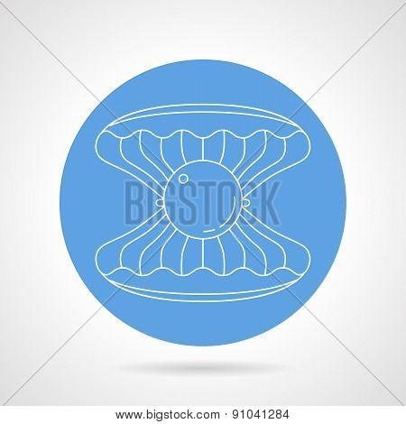 Scallop blue round vector icon