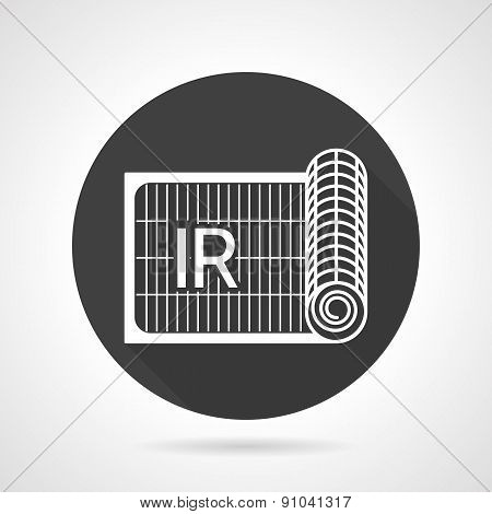Radiant heating black round vector icon