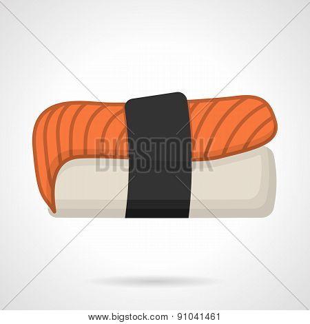 Salmon nigiri sushi flat vector icon