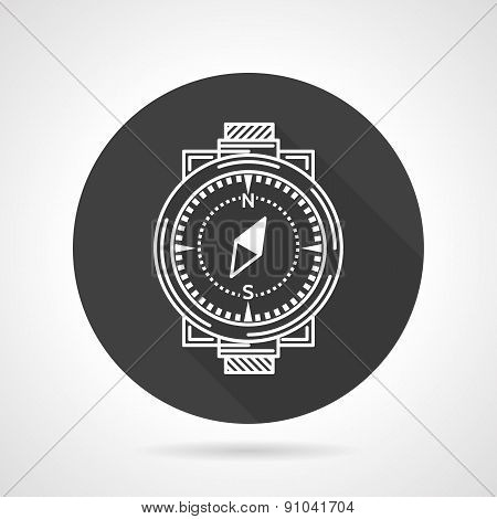 Compass black round vector icon