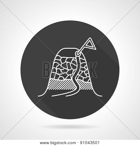 Climbing route black round vector icon