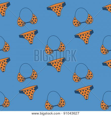 Seamless pattern with hand drawn swimming suit