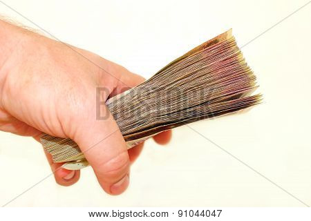 Ukrainian Money In The Hand Isolated