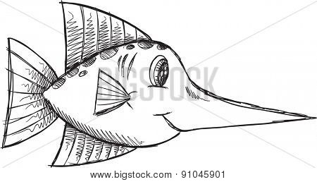 Doodle Sketch Fish Vector Illustration Art