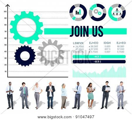 Join us Networking Sharing Information Contact Concept