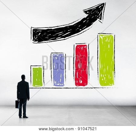 Bar Graph Growth Moving Up Improvement Concept