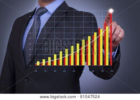 Person pushing hologram of success graph