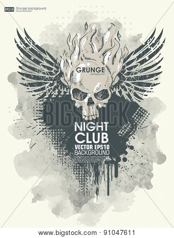 Background for poster in grunge style with skull in flame. Grunge print for t-shirt.  Abstract texture background.
