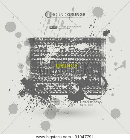 Grunge poster  vector background. Dirty urban print for t-shirt. Abstract dirt backgrounds texture. Grunge banner with an inky dribble strip with copy space. Abstract background for party