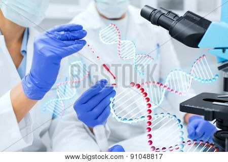 science, chemistry, technology, biology and people concept - close up of scientists hands with pipette and petri dish making research in clinical laboratory