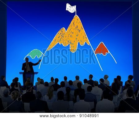Aim Goal Motivate Strategy Success Mountain Target Concept