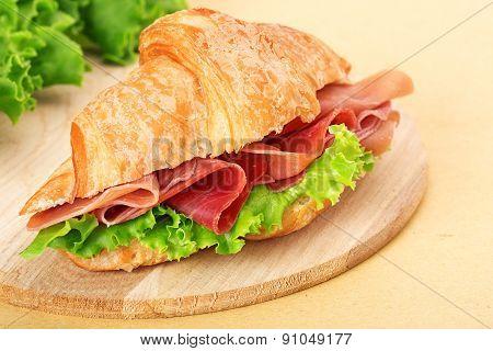 parma ham croissant sandwich