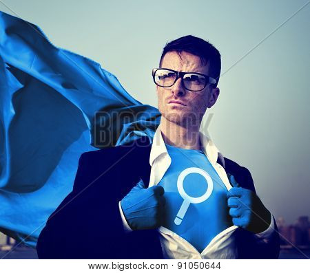 Magnifying Strong Superhero Success Professional Empowerment Stock Concept