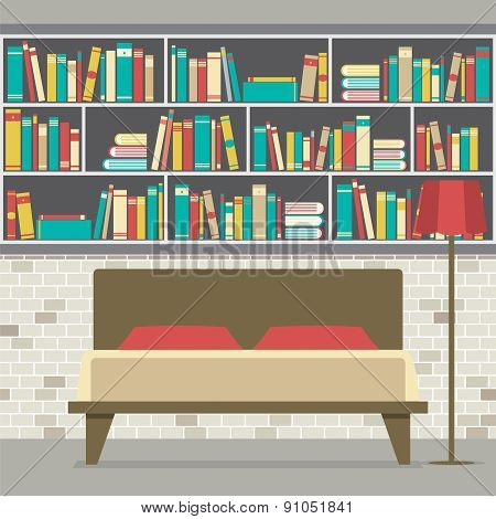 Bookcase In The Bedroom Flat Design.