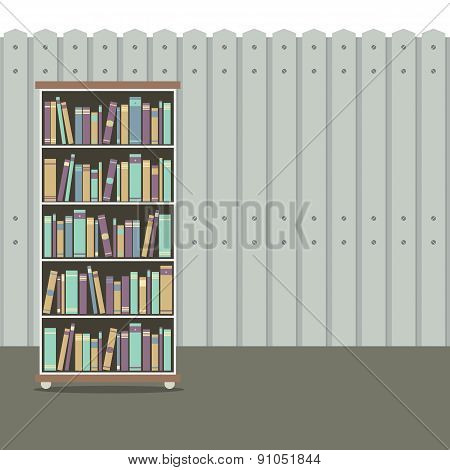 Bookcase With Wooden Background Vintage Style.