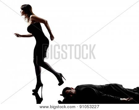 one detective woman criminal investigations investigating crime in silhouette on white background