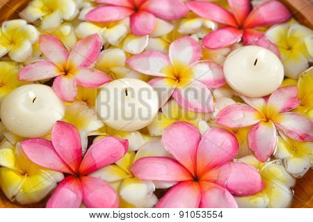 wooden bowl in many frangipani with candle