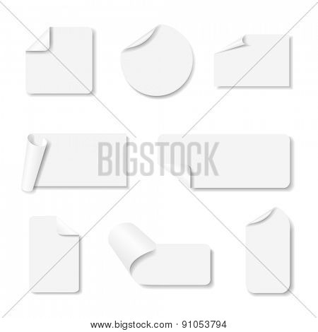 Light grey paper stickers set with shadows on white background. Vector eps10 illustration