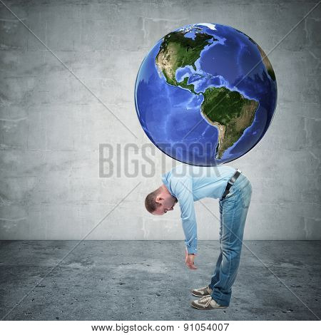 man with globe on his back america side