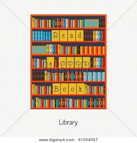 Bookshelf with books. Library. Flat Vector for your design.