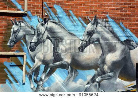 Street art horses