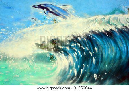 Street art dolphin