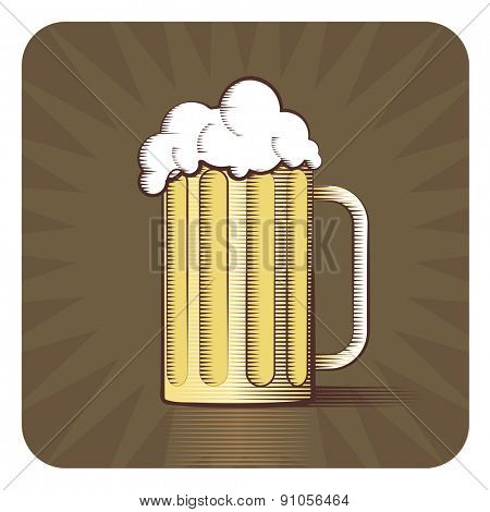 Vector icon of beer mug in engraved style on brown background