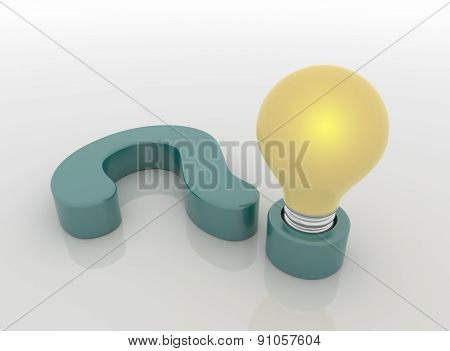 Question Mark Lamp And Light Bulb, Question And Answer Concept