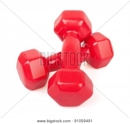 Two red dumbbells, Isolated on white background