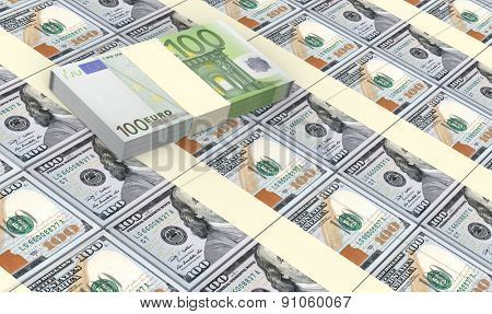 American dollars bills stacks with Euro bills background.