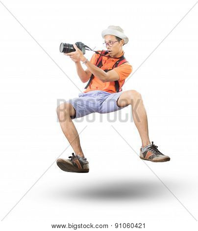 Portrait Face Of Young Man Take A Photography By Dslr Camera Floating Mid Air Isolated White Backgro